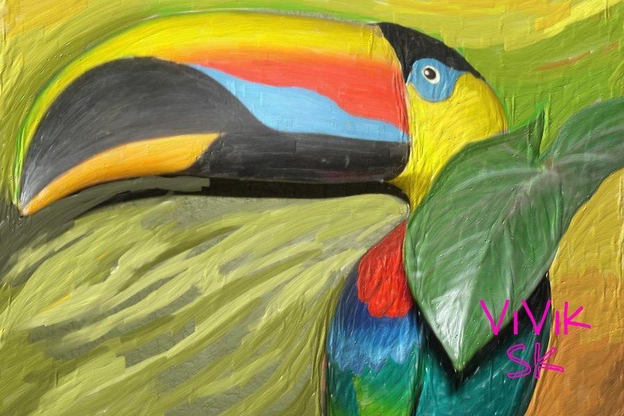 Maľovanie obrazov akrylovými farbami papagáj